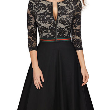 Black Lace 3/4 Sleeve Skater Dress
