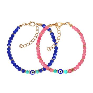Evil Eye Protection Love Couples Amulets Set Royal Blue Pink Simulated Turquoise Charms Bracelets