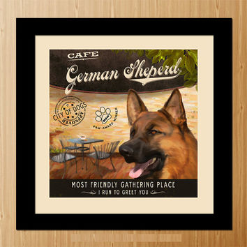 German Sheperd Dog Art Poster - Coffee Shop - Kitchen, Dinning Room, Unique Pet Art - D01-038-10X10