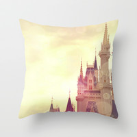 Disney Cinderella Castle Throw Pillow by AndreaClare
