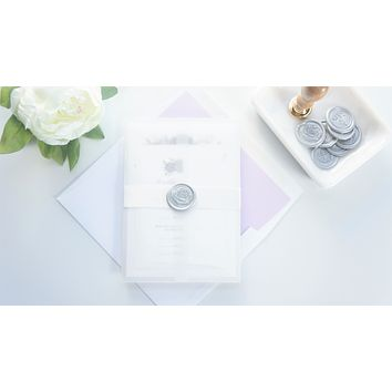 Purple Floral Vellum and Wax Seal Wedding Invitation - DEPOSIT