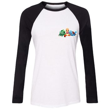 Pokemon Charmander Bulbasaur Squirtle Pokeball T shirt For Women girls long sleeves Tee Tops Creative Print Tee Cosplay costume