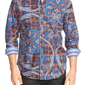 Men's Robert Graham 'Queen's Guard' Classic Fit Mixed Print Sport Shirt,