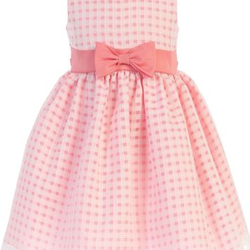 Coral Satin & Burnout Organza Overlay Easter Spring Dress 6M to Girls 12