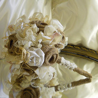 "Burlap Bridal Wedding Bouquet handmade of rustic burlap roses, vintage lace, satin roses and raffia. ""READY TO SHIP"""