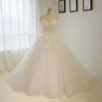 Actual Photos Off The Shoulder Short Sleeves Princess Wedding Dress