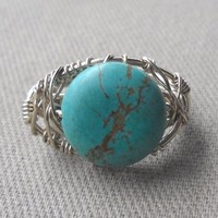Turquoise Wrapped Silver Wire Ring Size 6