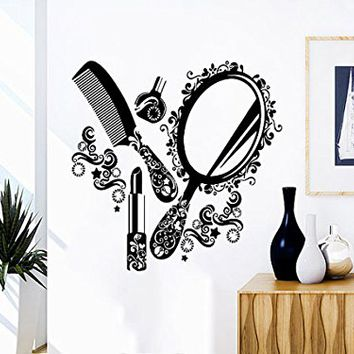 Wall Decal Beauty Salon Vinyl Sticker Decals Comb Mirror Girl Woman Makeup Fashion Cosmetic Hairdressing Hair Decor Art Design Interior NV70 (17x17)