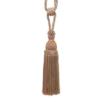 Elegant Dusty Rose, Green, Gold  Curtain & Drapery Tassel Tieback / 10 inch tassel, 30 1/2 inch Spread (embrace), 3/8 inch Cord, Imperial II Collection Style# TBIN-1 Color: ROSE GARDEN - 3549