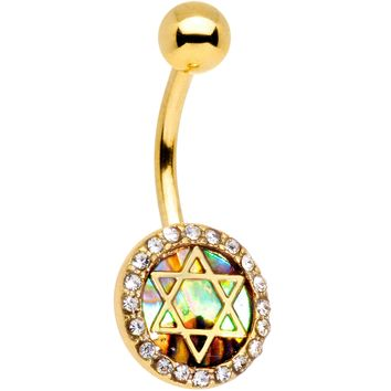 Clear Gem Gold Tone Iridescent Inlay Star of David Belly Ring