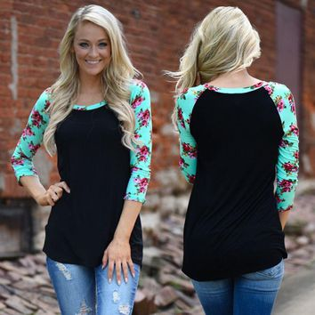 Floral Printed Patchwork Long Sleeve T Shirt