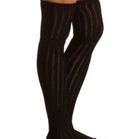 Pointelle Knit Over-the-Knee Socks by Charlotte Russe - Black