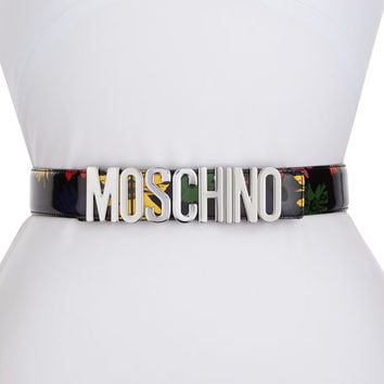 Moschino Floral Patent Leather Belt, Black