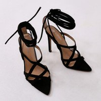 Sessy Pointed Lace Up Heels in Black Faux Suede