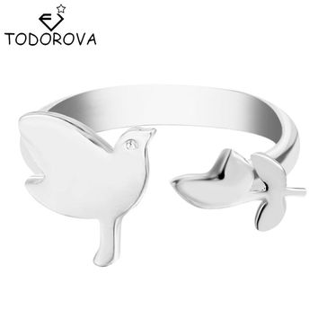 Todorova 10pcs New Design Silver Gold Open Adjustable Rings Anel Bague Bird Leaf Rings for Women Vintage Accessories