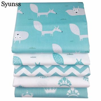 100% Blue Fox Crown Cotton Fabric Fat Quarte DIY Handmade Sewing Patchwork Baby Cloth Bedding Textile Quilt Tilda Tissus 40x50cm