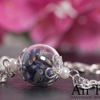 Lavender Bracelet - beautiful hand blown glass filled with scented lavender. A Perfect Christmas Gift for Someone Special