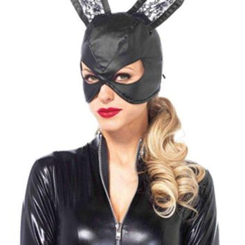 Faux Leather Bunny Mask With Lace Ears And Lace Up Back In Black