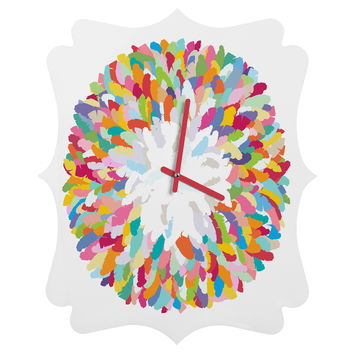 Sharon Turner Fizzy Feathers Quatrefoil Clock