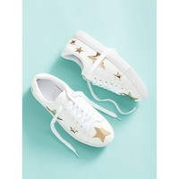 White Metallic Star Lace Up Sneakers