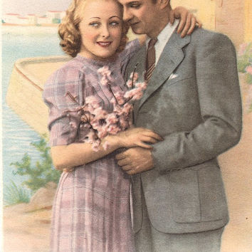 French Romantic vintage lovers postcard . Couple Love card.