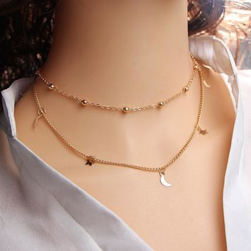 Leaf Star Moon MultiLayer Necklaces
