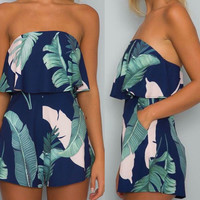 Women's Summery Navy with Green Palm Leaf Tropical Print Tube Shorts Ruffle Romper