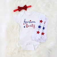 American Beauty Leg Warmers Set | 4th of July Baby Girl Outfit with Red Sequin Bow, American Beauty Onesuit and Leg Warmers