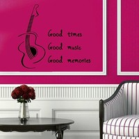 Wall Decor Vinyl Decal Sticker Guitar Quote Good Time Good Music Good Memories Kg542