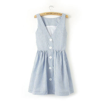 Summer Stripes V-neck Backless Vest Dress Slim Sleeveless One Piece Dress [4917881028]