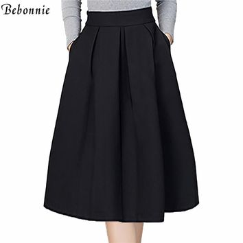 2017 New Fashion Black Skirts Womens High Waist Skirts Plus Size Knee Length Pleated Skirts Purple Red Grey Femme Summer Skirt
