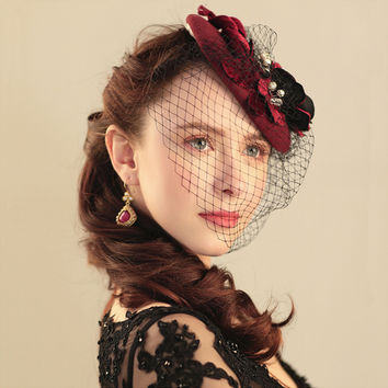 Burgundy Luxury Wedding Hats For Women Cheap Hair Accessories 2016 Vintage Bridal Hats With Pearls In Stock Wedding Hat Veils