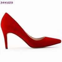 Classic Sexy Pointed Toe mid 8cm High Heels Women Pumps Shoes Faux Suede Spring Brand Wedding Pumps Big Size 35-42 10 Colors