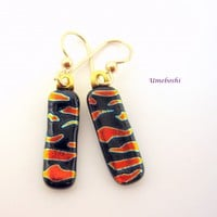 Black and Orange Abstract Fused Glass Dangle Drop Earrings Handmade Jewelry