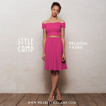 PREMIUM Coco Two-Piece Crop Top & Skater Skirt Co-Ord Set in Fuchsia Pink Ponte