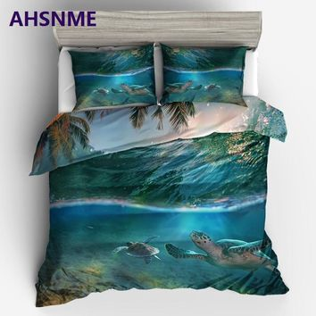Cool AHSNME cool summer sea palm fronds and sea turtles King Queen Size Bedding Set kids Duvet Cover set Bed set Bed setAT_93_12