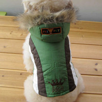 Pet Fashion Accessory Adorable Dog Clothing Snow Jacket Hoodie Polyester Cotton GREEN-Size 4