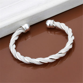 New Christmas gift  silver plated  jewelry beautiful female wire mesh bangle bracelet