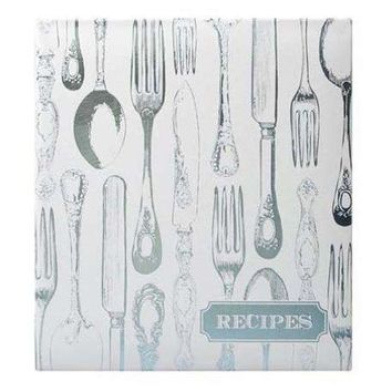 Vintage Utensils Recipe Book in Silver and Blue