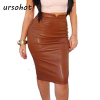 Women Fashion Stretch Waist Short Midi Skirts Sexy Pencil Clubwear Faux Leather PU Bandage Rayon Pleated Skirt 2015 New CHIC!