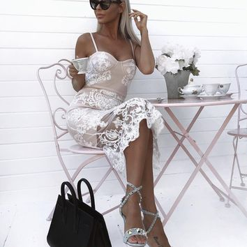 Izoldina White party sexy lace dressmj