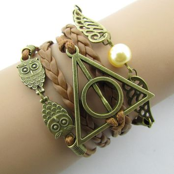 Fashion Charm  Hand-Woven Free Wings Hallows Wings   Bracelets Vintage Multilayer Braided -171206