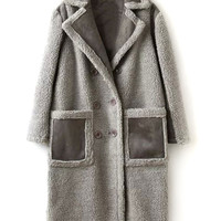Gray Lapel Contract Pocket Double Breasted Faux Shearling Coat