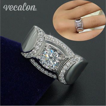 Vecalon Classic Jewelry Men Wedding band Ring 2ct AAAAA Zircon Cz 925 Sterling Silver male Engagement Finger ring Gift
