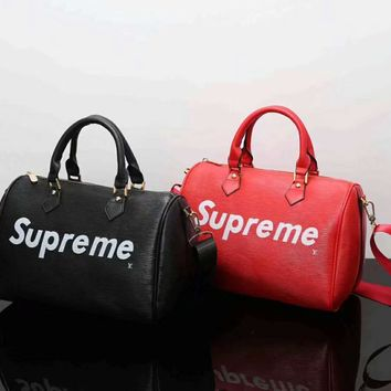 LV Louis Vuitton x Supreme Women Leather Luggage Travel Bags Tote Handbag G-LLBPFSH
