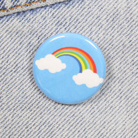 Rainbow With Clouds 1.25 Inch Pin Back Button Badge