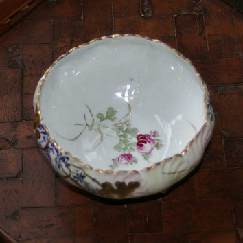 50s Japanese Hand Painted Porcelain Footed Bowl Roses Forget Me Nots