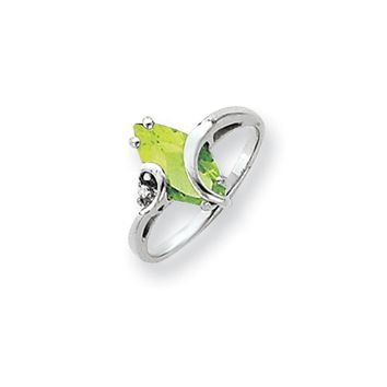 0.012 Ct  14k White Gold 12x6mm Marquise Peridot Diamond Ring I1 Clarity and G/I Color