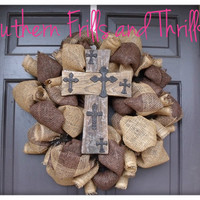 Natural and Chocolate Burlap Wreath with Rustic Cross