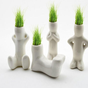 Lazy Man Planter, Cute Human Body Doll Hair White Ceramic Mini Succulent Cactus Grass Plant Novel DIY Potted Desktop Balcony Vase Home Decor